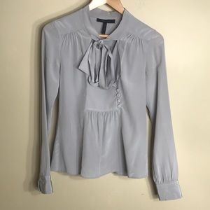 BCBGMAXAZRIA gray silk top